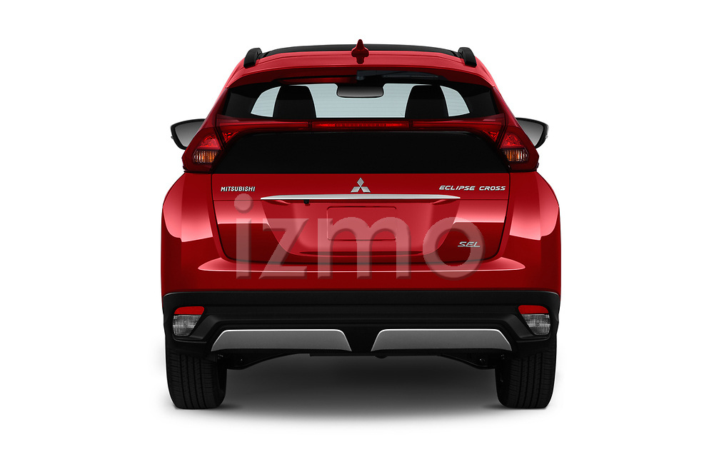 Straight rear view of a 2019 Mitsubishi Eclipse-Cross SEL 5 Door SUV stock images