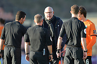 Barnet Manager John Still confronts  officials during Barnet vs Bristol Rovers, Emirates FA Cup Football at the Hive Stadium on 11th November 2018