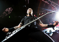 Lead singer James Hetfield performs with Metallica at the Scottrade Center in St. Louis, Mo. on November 17, 2008.
