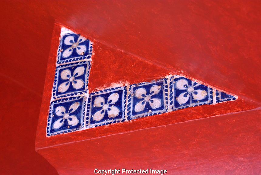 Blue an white Talavera design, Museo Casa del Afenique, Puebla, Mexico. The historical center of Puebla is a UNESCO World Heritage Site.                      .