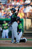 Dayton Dragons Brian Rey (11) during a Midwest League game against the Kane County Cougars on July 20, 2019 at Northwestern Medicine Field in Geneva, Illinois.  Dayton defeated Kane County 1-0.  (Mike Janes/Four Seam Images)