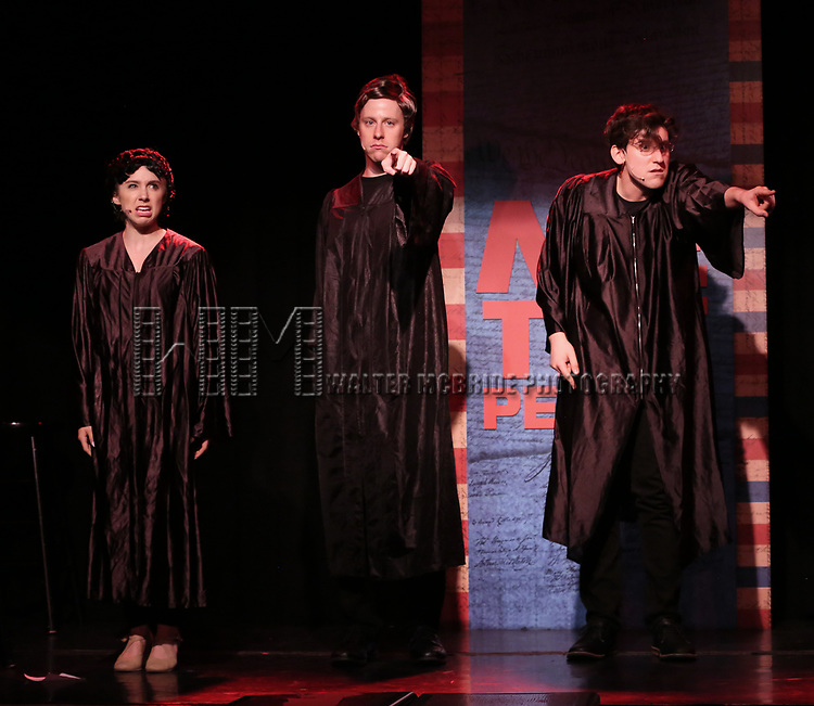Mia Weinberger, Mitchel Kawash and Richard Spitaletta perform onstage during the 'ME THE PEOPLE: The Trump America Musical' Press Preview Presentation at The Triad Theater on June 21, 2017 in New York City.
