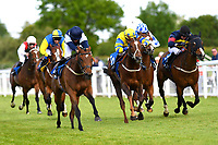 Winner of The Shadwell Stud Racing Excellence Apprentice Handicap Moorovertheridge (navy blue cap) ridden by Harry Burns and trained by Grace Harris during Afternoon Racing at Salisbury Racecourse on 17th May 2018