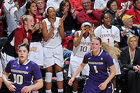 STANFORD, CA - February 27, 2014: Stanford Cardinal's Briana Roberson signals 3-points during Stanford's 83-60 victory over Washington at Maples Pavilion.