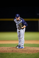 Brooklyn Cyclones relief pitcher Billy Oxford (18) looks in for the sign during a game against the Tri-City ValleyCats on August 21, 2018 at Joseph L. Bruno Stadium in Troy, New York.  Tri-City defeated Brooklyn 5-2.  (Mike Janes/Four Seam Images)