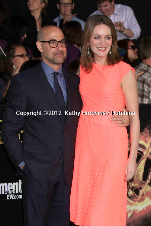 """LOS ANGELES - MAR 12:  Stanley Tucci arrives at the """"Hunger Games"""" Premiere at the Nokia Theater at LA Live on March 12, 2012 in Los Angeles, CA"""
