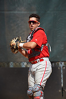 Philadelphia Phillies catcher Carlos Oropeza (11) during an Instructional League game against the Atlanta Braves on October 9, 2017 at the Carpenter Complex in Clearwater, Florida.  (Mike Janes/Four Seam Images)