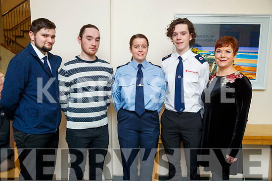 Pictured at the Lee Strand/Kerry Garda Youth Achievement Awards 2017 at Ballyroe Heights Hotel, Tralee, on Friday night last were l-r; Billy Donovan, Louis Wells, Sergeant Eileen O'Sullivan, Hugo Wells (recipient) and Sheila Wells.