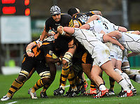 High Wycombe, England. Marco Wentzel of London Wasps in action  during the Aviva Premiership match between London Wasps and Sale Sharks at Adams Park on December 23. 2012 in High Wycombe, England.