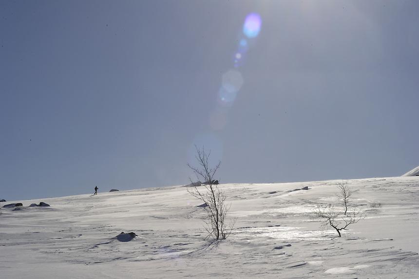 Skiing on the mountain,Trollheimen,Norway