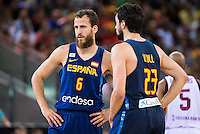 Spain's basketball player Sergio Rodriguez and Sergio Llull during the  match of the preparation for the Rio Olympic Game at Madrid Arena. July 23, 2016. (ALTERPHOTOS/BorjaB.Hojas) /NORTEPHOTO.COM