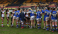 Picture by Anna Gowthorpe/SWpix.com - 15/04/2018 - Rugby League - Womens Super League - Bradford Bulls v Leeds Rhinos - Coral Windows Stadium, Bradford, England - The two teams shake hands at full-time