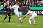 17.03.2019, BayArena, Leverkusen, GER, 1. FBL, Bayer 04 Leverkusen vs. SV Werder Bremen,<br />  <br /> DFL regulations prohibit any use of photographs as image sequences and/or quasi-video<br /> <br /> im Bild / picture shows: <br /> Maximilian Eggestein (Werder Bremen #35), Marco Friedl (Werder Bremen #32),  im Zweikampf gegen  Julian Brandt (Leverkusen #10), <br /> <br /> Foto © nordphoto / Meuter