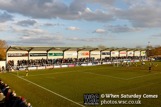 Darlington fans watching from the Tin Shed End as Southport take a corner. Darlington 1883 v Southport, National League North, 16th February 2019. The reborn Darlington 1883 share a ground with the town's Rugby Union club. <br />