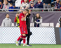 Foxborough, Massachusetts - September 22, 2018: In a Major League Soccer (MLS) match, New England Revolution (blue/white) tied Chicago Fire (red), 2-2, at Gillette Stadium.