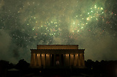 Washington DC holds its annual fireworks show at the Lincoln Memorial on July 4, 2019.<br /> <br /> Credit: Stefani Reynolds / CNP