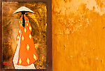 Lacquer Painting Ochre Wall - Lacquer painting on an ochre wall, Nguyen Thai Hoc St, Hoi An, Viet Nam