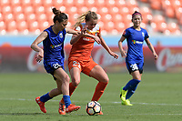 Houston, TX - Saturday May 27, 2017: Rumi Utsugi and Cami Privett (23) of the Houston Dash battle for control of the ball  during a regular season National Women's Soccer League (NWSL) match between the Houston Dash and the Seattle Reign FC at BBVA Compass Stadium.