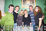Brendan Kenny, left from Listowel  celebrated his birthday with the new year celebrations in Fitzgerald's restaurant Listowel.  also in the picture are Steven Walsh, Niamh and Bridie Kenny, Tom Fitzgerald and Eimear Kenny.