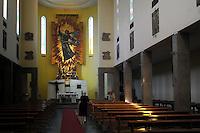 La Chiesa di Santa Barbara..Del  1936. Venne costruita su disegno dell'ing. Moranti.La chiesa è di stile romanico moderno.Dietro l'abside, domina un mosaico, alto 9,50 metri e largo 4,30 metri, creato dal prof. Marino Mazzacurati, che rappresenta Santa Barbara (patrona di Colleferro) uscente dalle fiamme a seguito di una esplosione, nella mano destra tiene una fiaccola, e rappresenta la fede, che sorvola gli stabilimenti di Colleferro a protezione e difesa..The Church of Santa Barbara.1936. It was built to a design of  engineer Morante..Behind the apse is a mosaic, and 9.50 meters high 4.30 meters wide, created by prof. Marino Mazzacurati, which represents Santa Barbara (patron saint of Colleferro) outgoing from the flames after aexplosion in the right hand holds a torch, representing the faith, flying above establishments Colleferro to protection and defense..