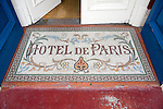 Architectural detail of entrance door mosaic Hotel de Paris in the seaside town of Cromer, north Norfolk coast, England