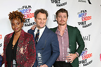 LOS ANGELES - MAR 3:  Dee Rees, Jason Clarke, Garrett Hedlund_ at the 2018 Film Independent Spirit Awards at the Beach on March 3, 2018 in Santa Monica, CA