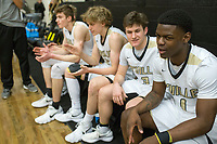 NWA Democrat-Gazette/CHARLIE KAIJO Bentonville High School players get ready to enter the court during a basketball game on Friday, January 12, 2018 at Bentonville High School in Bentonville.