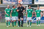 04.09.2018, Hoheellern-Stadion, Leer, GER, FSP, Werder Bremen (GER) vs FC Emmen (NED)<br /> <br /> DFL REGULATIONS PROHIBIT ANY USE OF PHOTOGRAPHS AS IMAGE SEQUENCES AND/OR QUASI-VIDEO.<br /> <br /> im Bild / picture shows<br /> Max Kruse (Werder Bremen #10) bei Schiedsrichter, <br /> <br /> Foto © nordphoto / Ewert