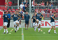 26 June 2010:  Los Angeles Galaxy players warm-up during a game between the Los Angeles Galaxy and the Toronto FC at BMO Field in Toronto..Final score was 0-0...