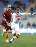 Napoli's Marko Rog, right, is chased by Roma&rsquo;s Radja Nainggolan during the Serie A soccer match between Roma and Napoli at the Olympic stadium, 4 March 2017.<br /> UPDATE IMAGES PRESS/Isabella Bonotto