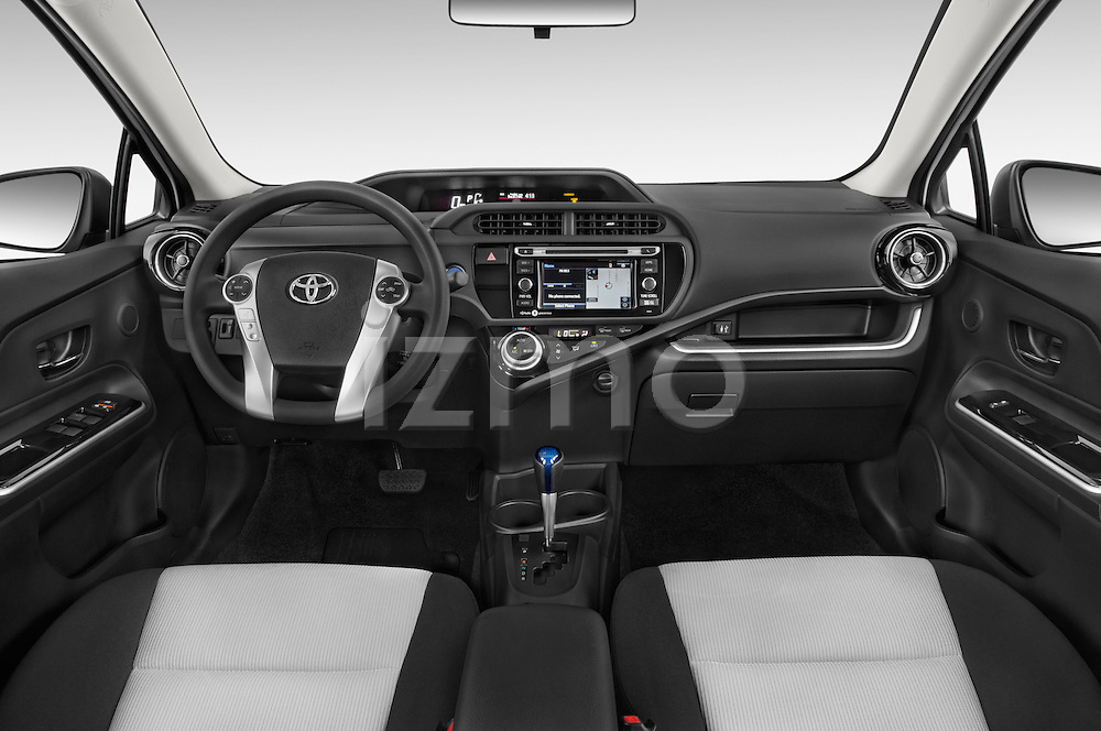 Stock photo of straight dashboard view of a 2015 Toyota Prius c Three 5 Door Hatchback Dashboard