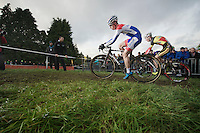 Dutch Champion Lars van der Haar (NLD) shadowed by Belgian Champion Klaas Vantornout (BEL)<br /> <br /> Vlaamse Druivencross Overijse 2013