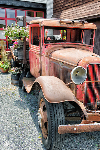 Old Ford truck used as decoration with garden flowers for sale in the bed, a 1930's flatbed pickup, weathered, worn, and faded red.