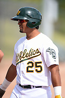Oakland Athletics outfielder Robert Martinez (25) during an Instructional League game against the San Francisco Giants on October 15, 2014 at Papago Park Baseball Complex in Phoenix, Arizona.  (Mike Janes/Four Seam Images)