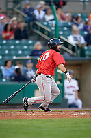 Pawtucket Red Sox shortstop Mike Miller (10) at bat during a game against the Rochester Red Wings on May 19, 2018 at Frontier Field in Rochester, New York.  Rochester defeated Pawtucket 2-1.  (Mike Janes/Four Seam Images)