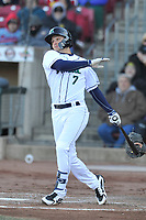 Cedar Rapids Kernels third baseman Andrew Bechtold (7) swings at a pitch against the Quad Cities River Bandits at Veterans Memorial Stadium on April 7, 2018 in Cedar Rapids, Iowa. The Kernels won 4-3.  (Dennis Hubbard/Four Seam Images)