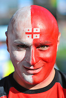 A Georgia supporter shows off his painted face prior to the match. Rugby World Cup Pool C match between Argentina and Georgia on September 25, 2015 at Kingsholm Stadium in Gloucester, England. Photo by: Patrick Khachfe / Onside Images