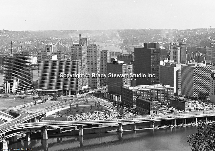 Pittsburgh PA:  View of Pittsburgh's Gateway Center with the new Gateway Towers under construction - 1964.  From left to right; Hilton Hotel, Gateway 1, 2 & 3, Pennsylvania State Office Building, Gateway 4, Pittsburgh Press building, Bell Telephone Building, and IBM Building.
