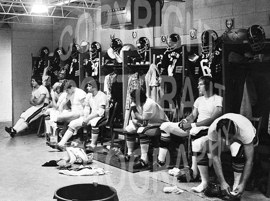 Ottawa Rough Riders locker room 1973. Copyright Ted Grant