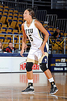 12 January 2012:  FIU guard Sasha Melnikova (5) defends on the full-press in the second half as the Middle Tennessee State University Blue Raiders defeated the FIU Golden Panthers, 74-60, at the U.S. Century Bank Arena in Miami, Florida.