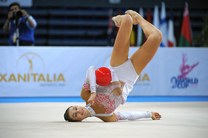 Svetlana Rudalova of Belarus performs with ball at 2009 Pesaro World Cup on May 1, 2009 at Pesaro, Italy.  Photo by Tom Theobald.