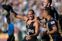 Fred (7) of the Philadelphia Union celebrates scoring just before halftime of a Major League Soccer (MLS) match against CD Chivas USA at PPL Park in Chester, PA, on September 25, 2010.
