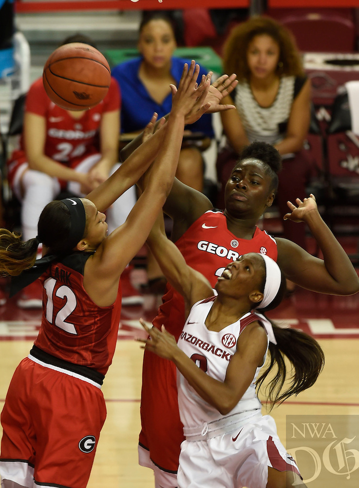 NWA Democrat-Gazette/MICHAEL WOODS @NWAMICHAELW<br /> University of Arkansas guard Malica Monk (3) tries to drive tot he hoop Thursday February 2, 2017 during the Razorbacks game against Georgia at Bud Walton Arena in Fayetteville.