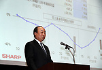 April 28, 2017, Tokyo, Japan - Japan's eleectronics giant Sharp executive vice president and CFO Katsuaki Nomura announces the company's financial result ended March 31 in Tokyo on Friday, April 28, 2017. Sharp posted its first time operating profit in three years of 62.45 billion yen.   (Photo by Yoshio Tsunoda/AFLO) LwX -ytd-