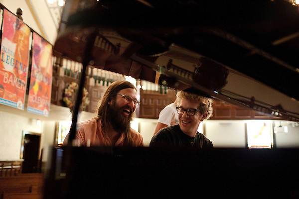 September 14, 2010.  Durham, North Carolina.. Matt White, of FTBB, and Phil Cook, of Megafaun, who were the primary composers of the new music to be played, have a moment.. Day One of Sounds of the South, a reinterpretation of Alan Lomax's field recordings, with music by Megafaun, Fight the Big Bull, Sharon Van Etten and Justin Vernon of Bon Iver..