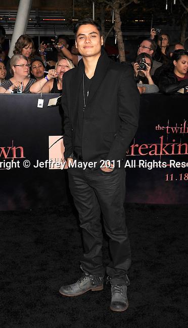 "LOS ANGELES, CA - NOVEMBER 14: Kiowa Gordon arrives at the Los Angeles premiere of ""The Twilight Saga: Breaking Dawn Part 1"" held at Nokia Theatre L.A. Live on November 14, 2011 in Los Angeles, California."