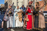 NEW YORK - JANUARY 06: Revelers dressed as kings march during the Three Kings Day Parade in East Harlem January 6, 2017 in New York City. The parade celebrates the Feast of the Epiphany, also known as Three Kings Day, marking the Biblical story of the visit of three kings to Bethlehem to visit the baby Jesus, revealing his divinity. Photo by VIEWpress/Maite H. Mateo