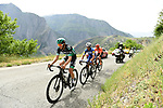 The breakaway Gregor Mühlberger (AUT) Bora-Hansgrohe, Julian Alaphilippe (FRA) Deceuninck-Quick Step and Alessandro De Marchi (ITA) CCC Team during Stage 6 of the Criterium du Dauphine 2019, running 229km from Saint-Vulbas - Plaine de l'Ain to Saint-Michel-de-Maurienne, France. 14th June 2019.<br /> Picture: ASO/Alex Broadway | Cyclefile<br /> All photos usage must carry mandatory copyright credit (© Cyclefile | ASO/Alex Broadway)