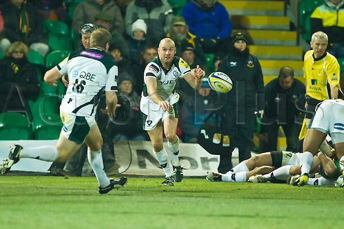 David Paice runs onto a pass from scrum-half Paul Hodgson.  Northampton Saints v London Irish, Aviva Premiership, 26 November 2010 at Franklin's Gardens.  Final score: Northampton Saints 35-23 London Irish.
