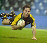 London. Great Britain. Fraser Walters, touch's down after his mid field interception  during the Heineken Cup.London Wasps v Ulster Match, played at Loftus Road, West London. 06/01/2002.  [Mandatory Credit;  Peter Spurrier/Intersport Images]..